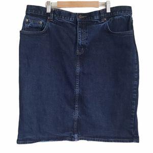 Lauren Ralph Lauren denim jean midi skirt size 14W